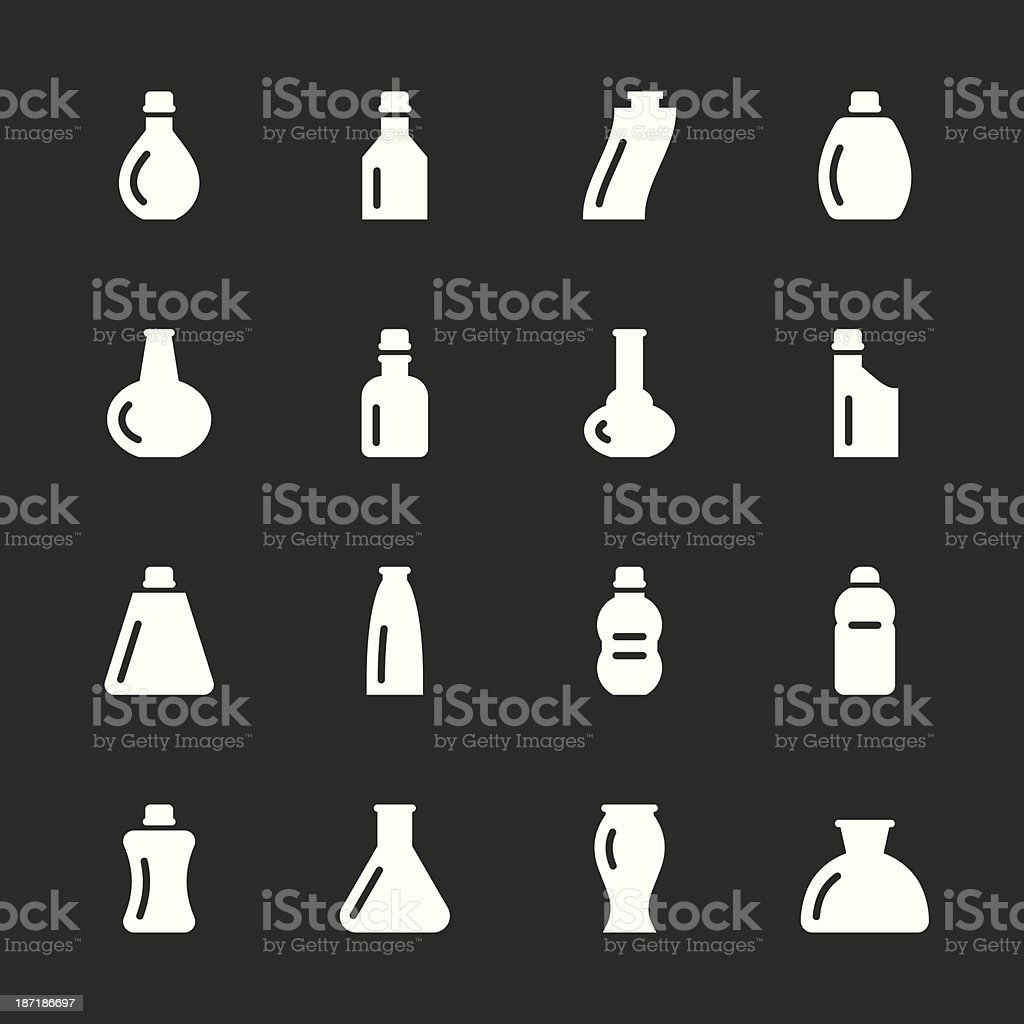 Bottles Icons Set 2 - White Series royalty-free stock vector art