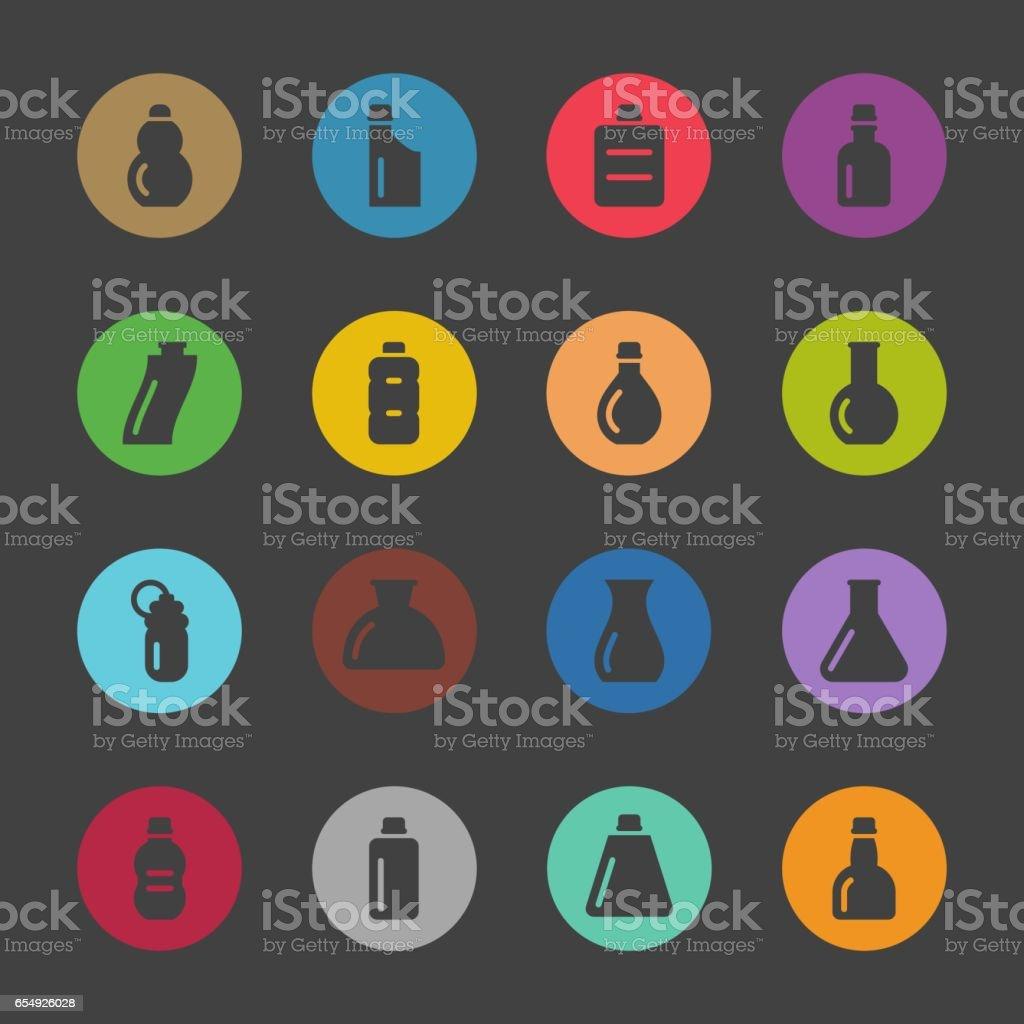 Bottles Icons Set 3 - Color Circle Series vector art illustration