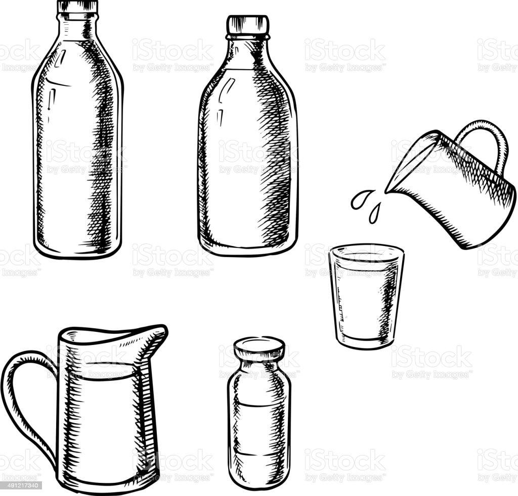 Bottles, jugs and glass of milk vector art illustration