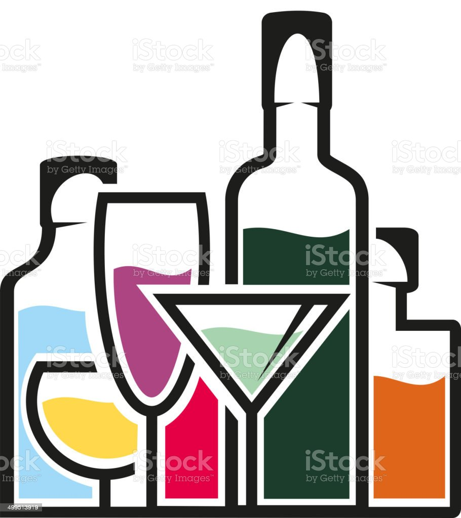 Bottles of alcohol with tropical cocktails vector art illustration
