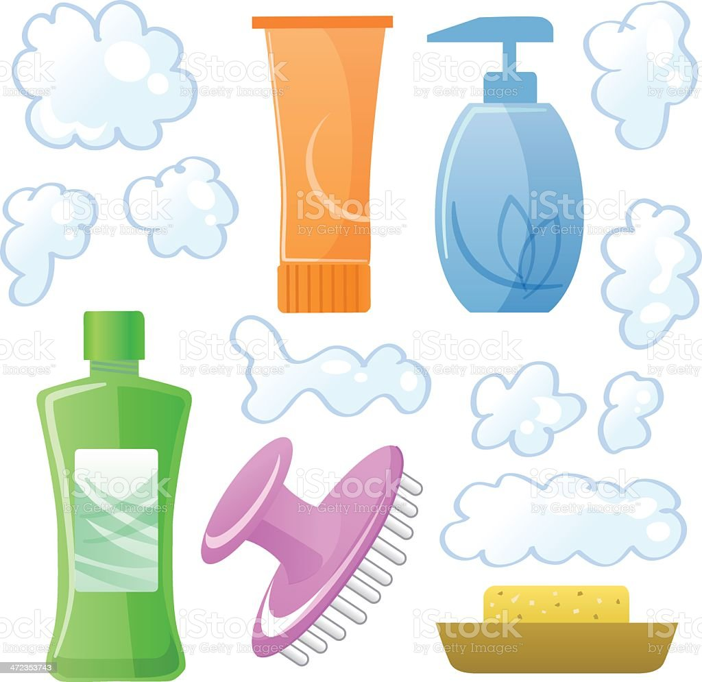 Bottles of body/hair care and beauty products royalty-free stock vector art