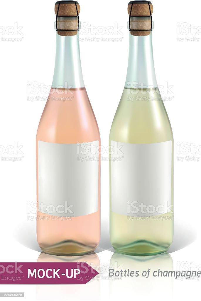 bottles of champagne vector art illustration