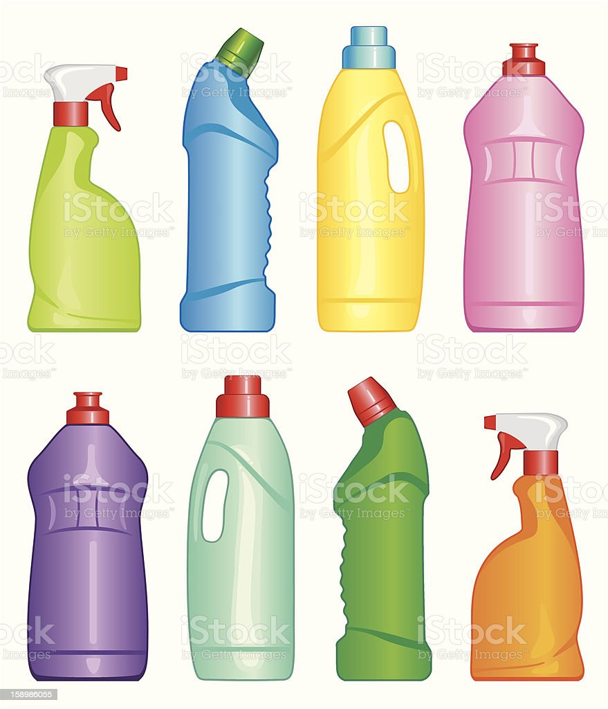 Bottles of cleaning products vector art illustration