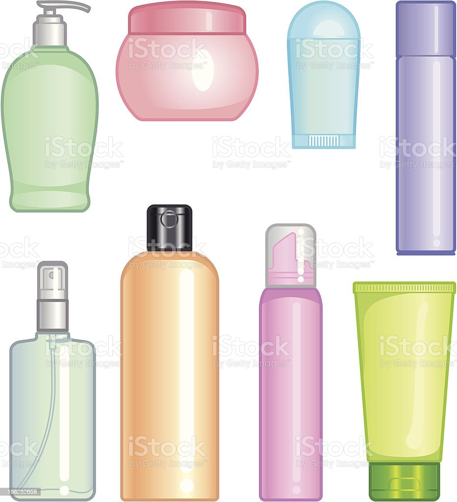 Bottles of cosmetic products royalty-free stock vector art