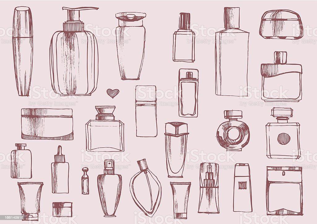 Bottles of perfume set hand-drawn. Vector illustration. vector art illustration