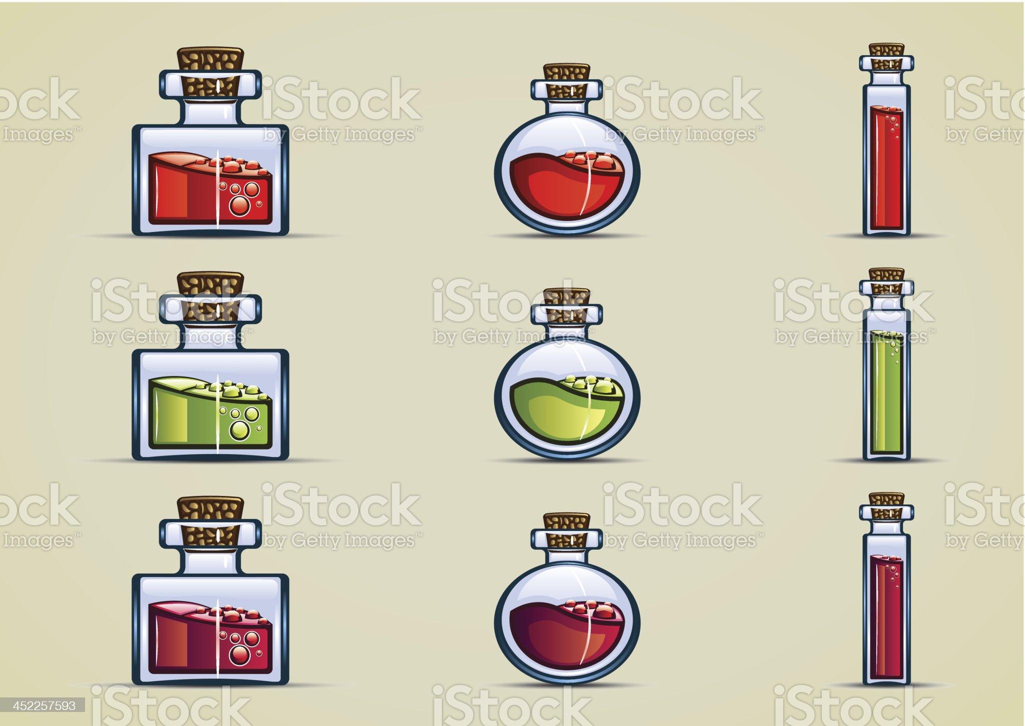 bottles of potion royalty-free stock vector art