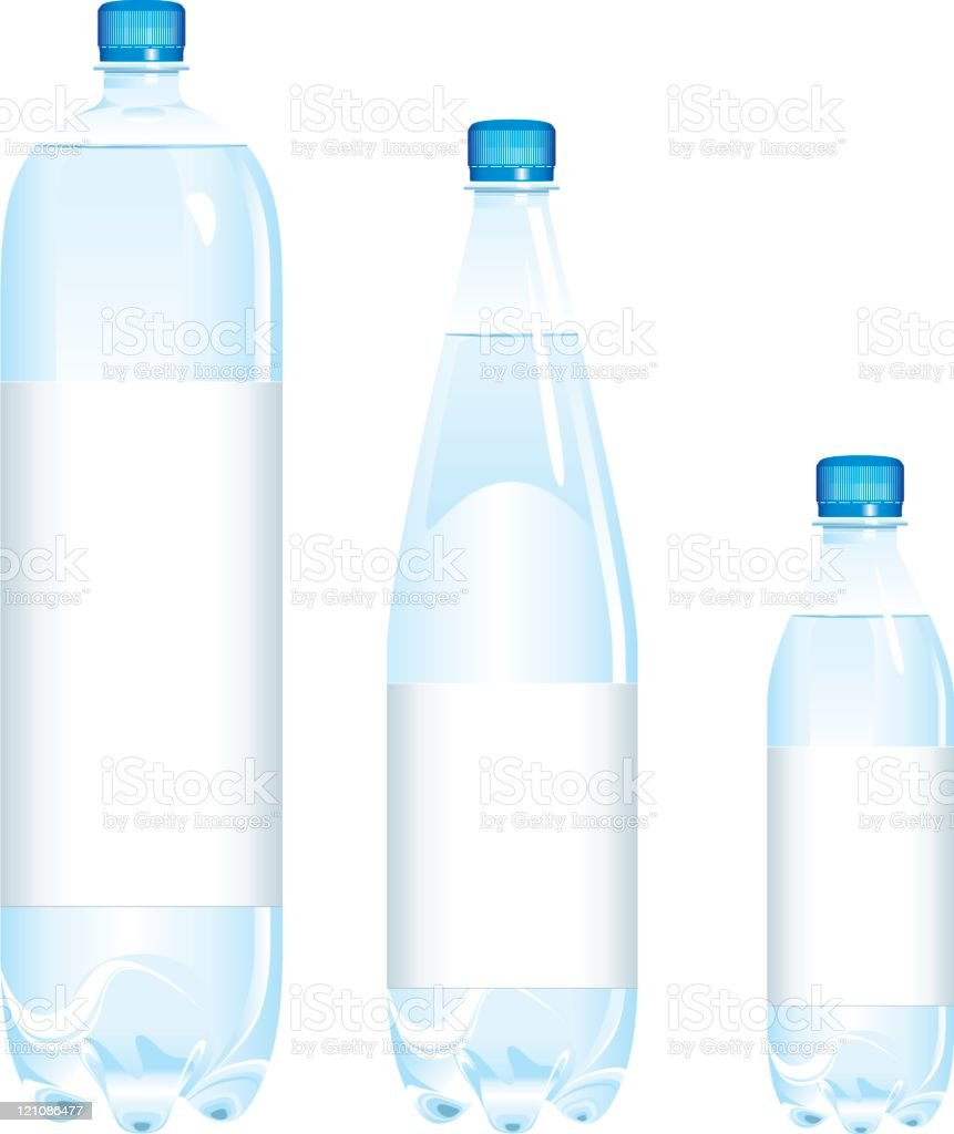 Bottles of water various sizes vector art illustration