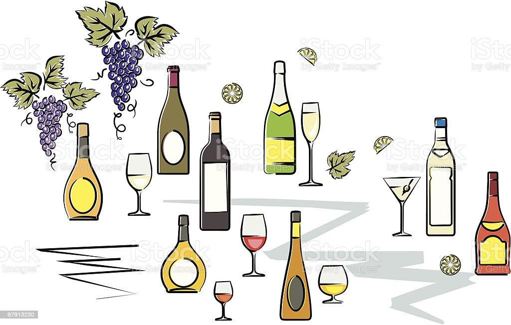 Bottles of Wine Vector Illustration royalty-free stock vector art