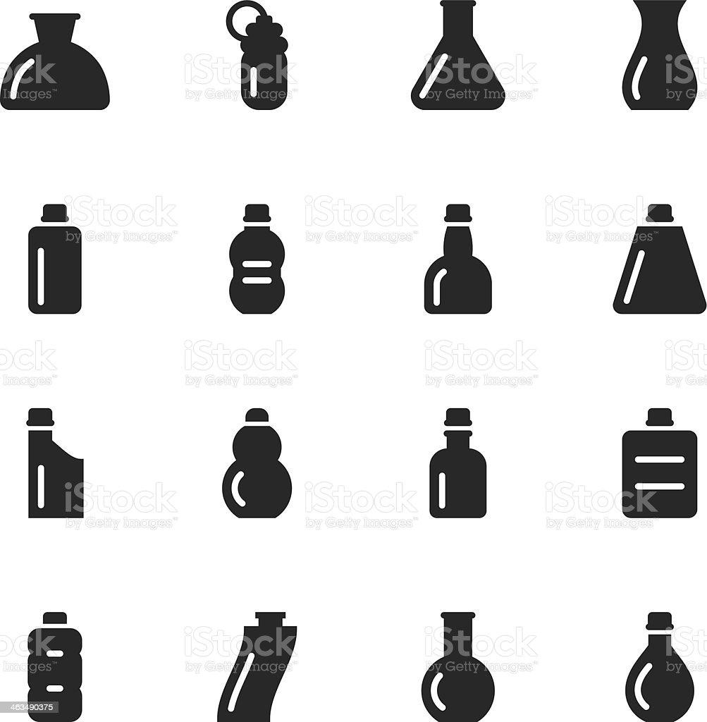 Bottles Silhouette Icons   Set 3 vector art illustration