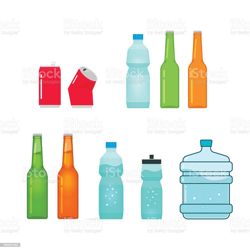 Bottles vector collection isolated on white, full and empty vector art illustration