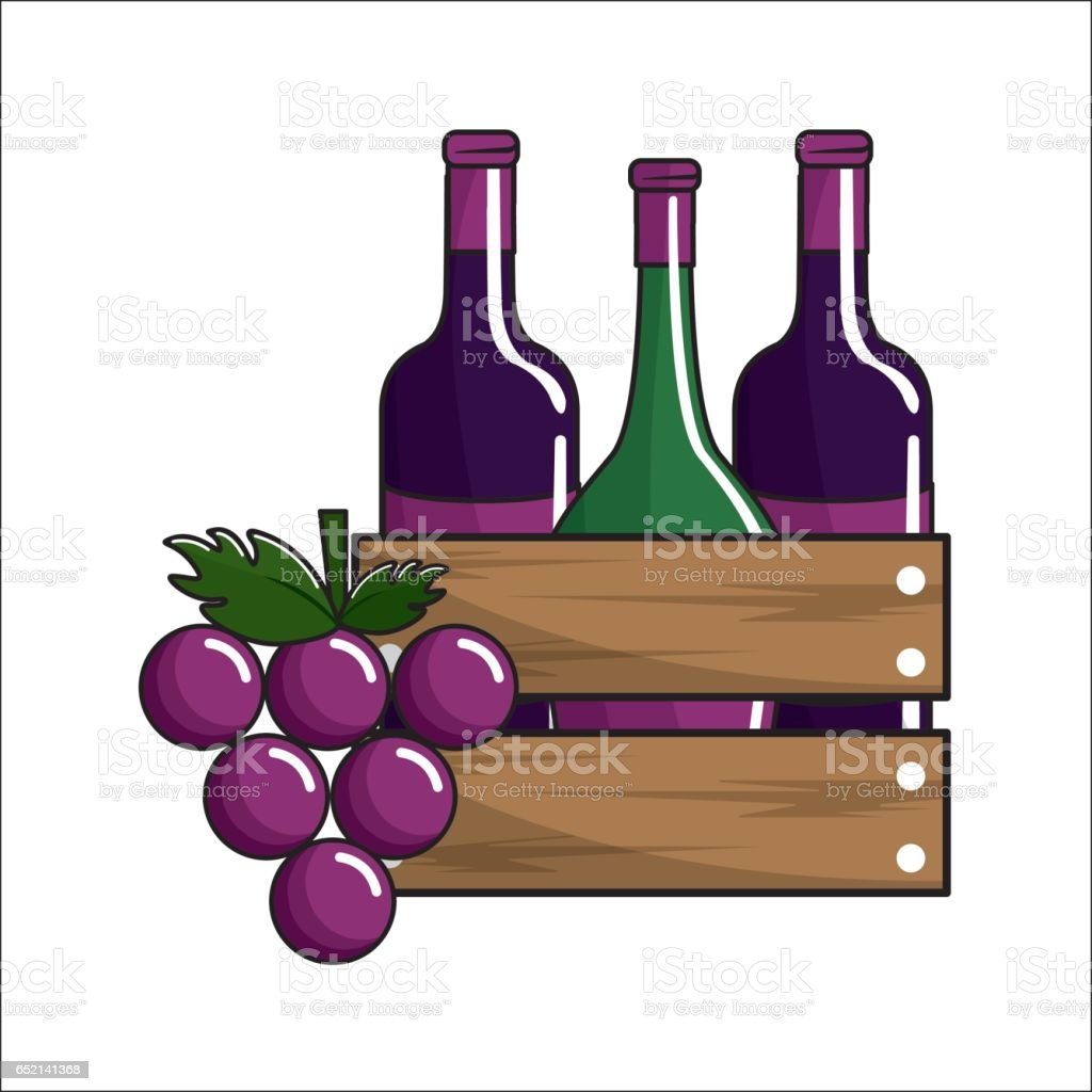 bottles wine and grape icon vector art illustration