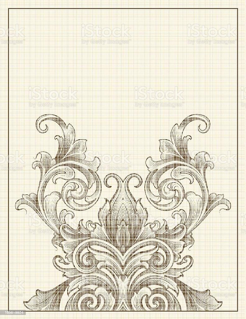 Bottom Scroll Linen royalty-free stock vector art