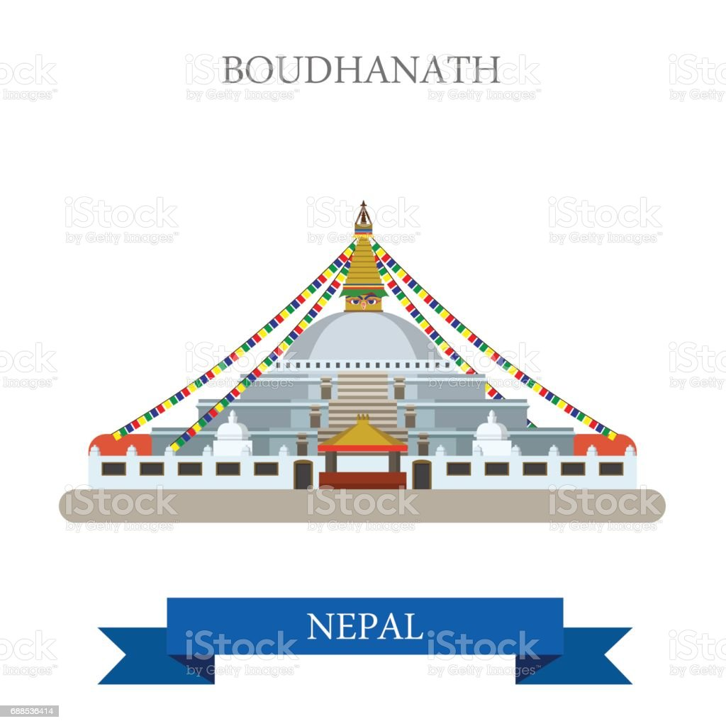 Boudhanath in Kathmandu Nepal. Flat cartoon style historic sight showplace attraction web site vector illustration. World countries cities vacation travel sightseeing Asia collection. vector art illustration
