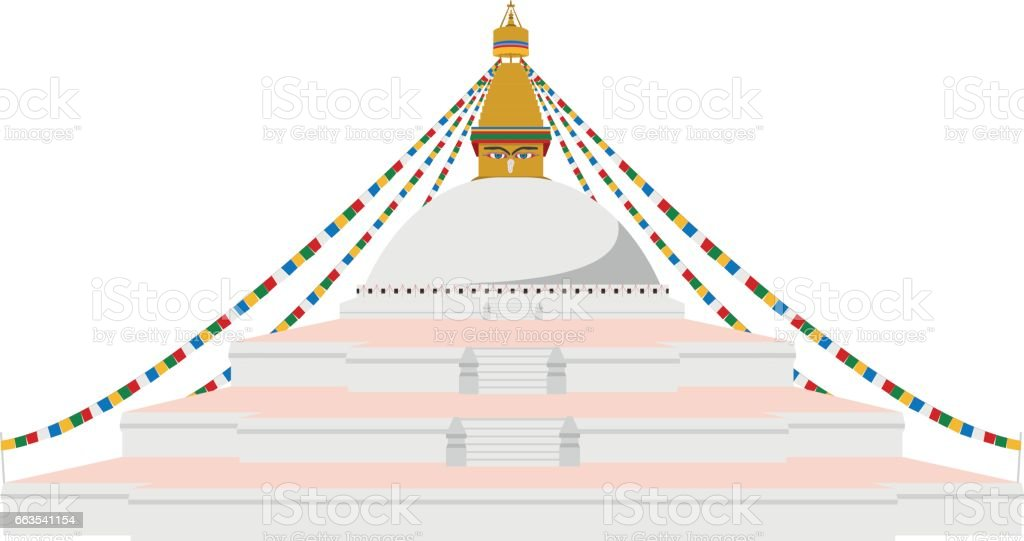 Boudhanath Stupa, Kathmandu, Nepal. Isolated on white background vector illustration. vector art illustration