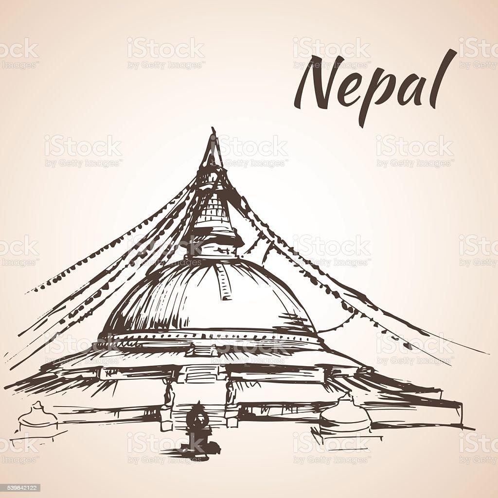 Boudhanath Stupa - Kathmandu, Nepal vector art illustration