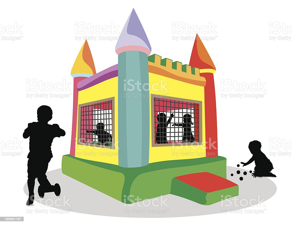 Bounce House and Children Silhouette vector art illustration