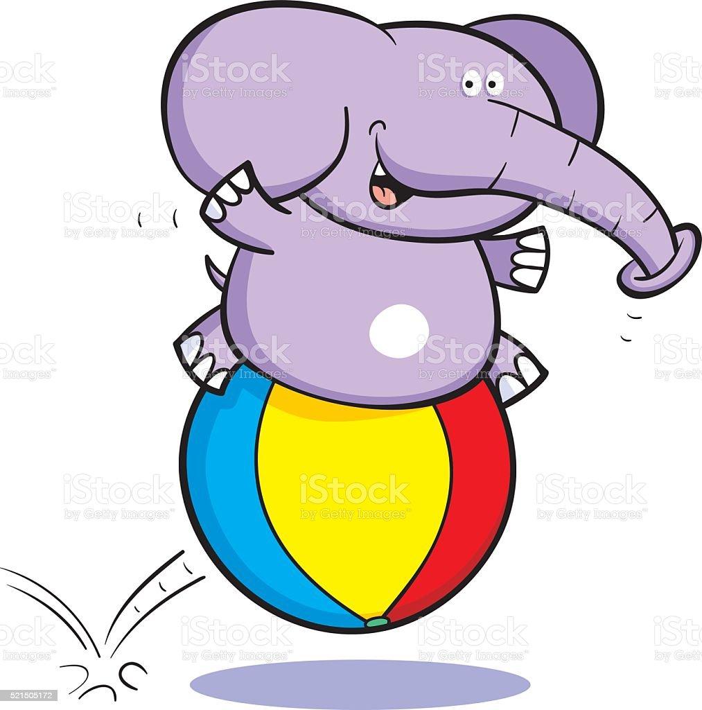 Bouncing Elephant vector art illustration