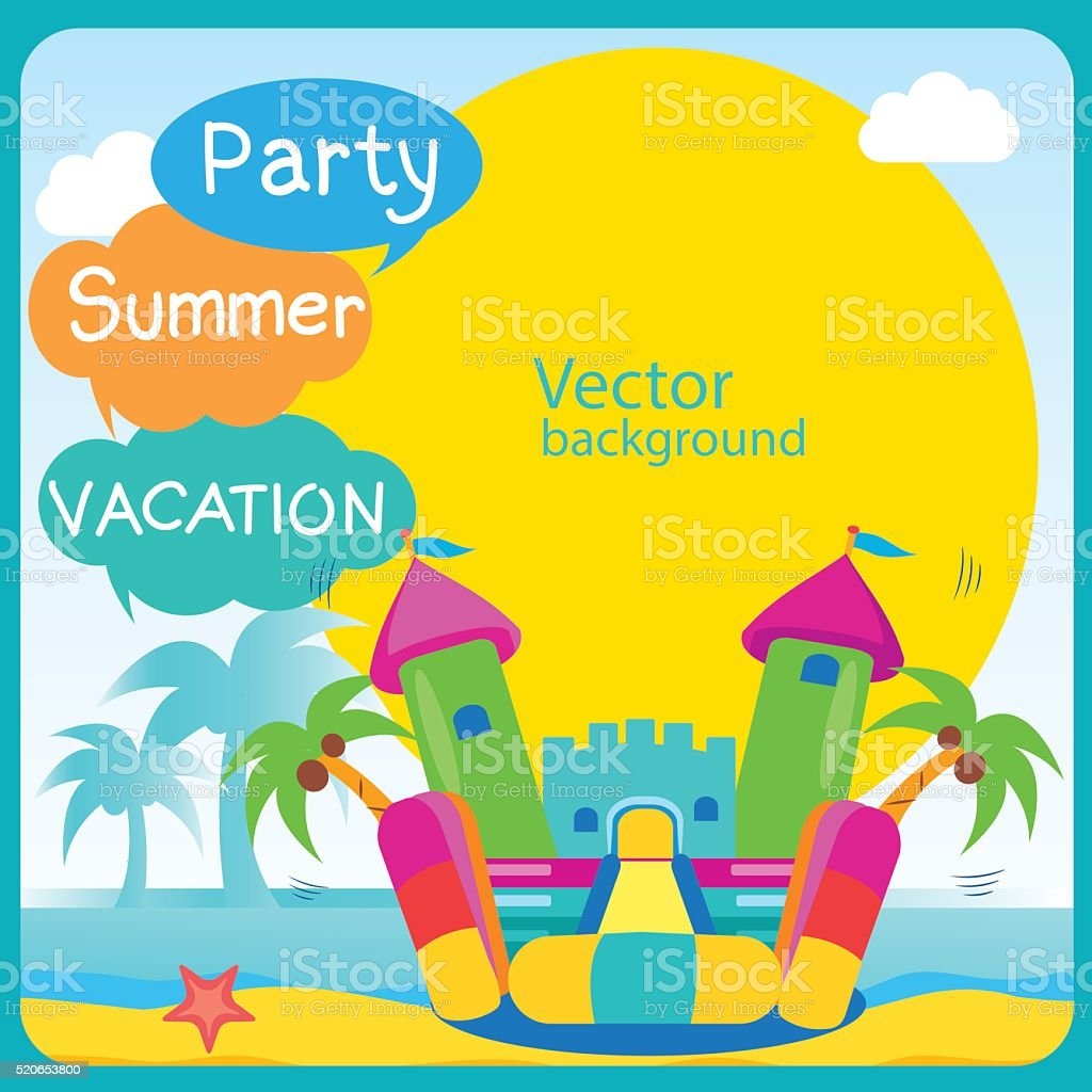 Bouncy Castle. Summer Rest. Bouncy Castle Rental. vector art illustration