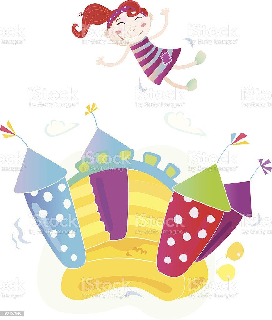 Bouncy castle with happy child jumping on it (cartoon illustration) vector art illustration