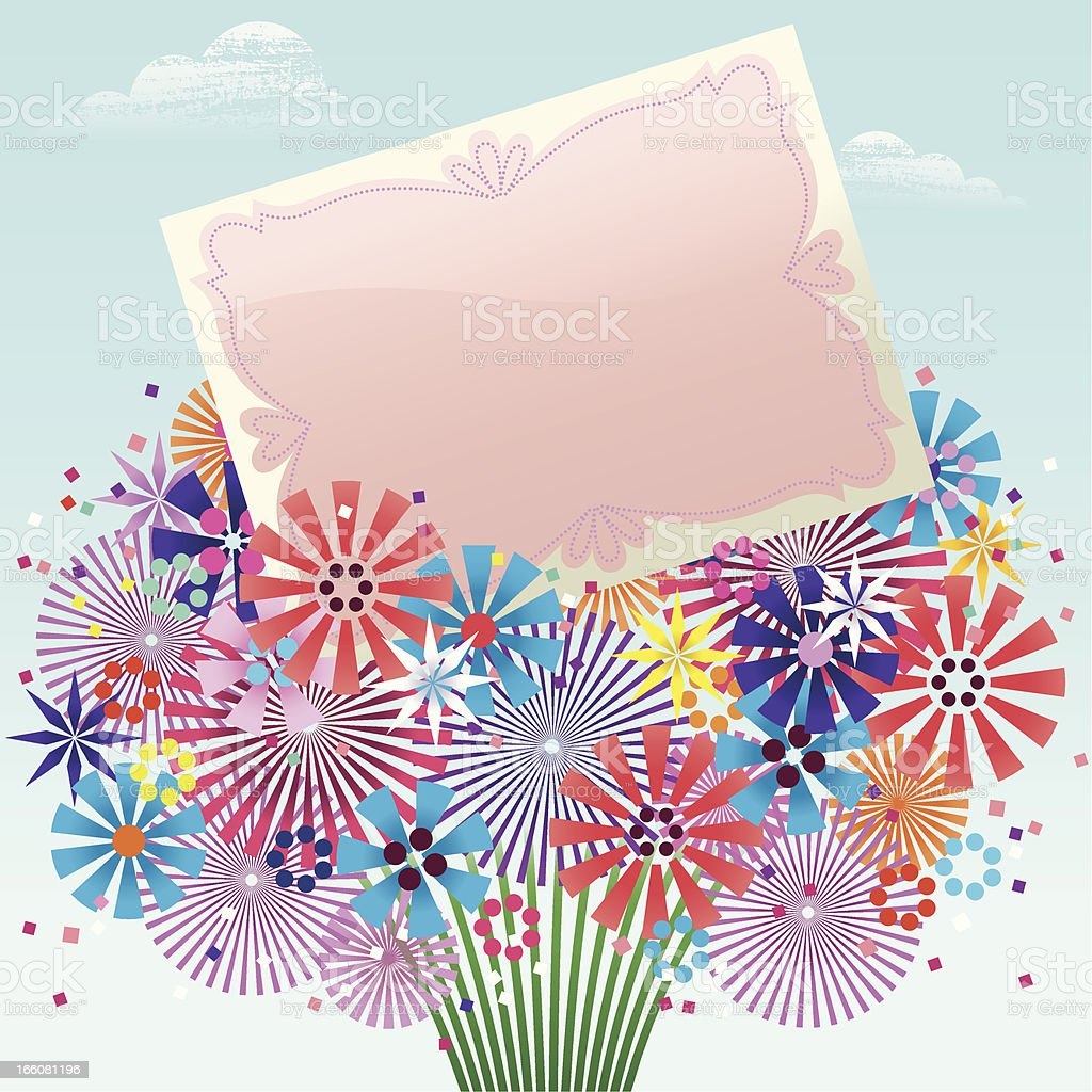 Bouquet and Card. royalty-free stock vector art