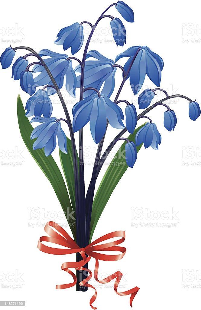 Bouquet blue snowdrops vector art illustration