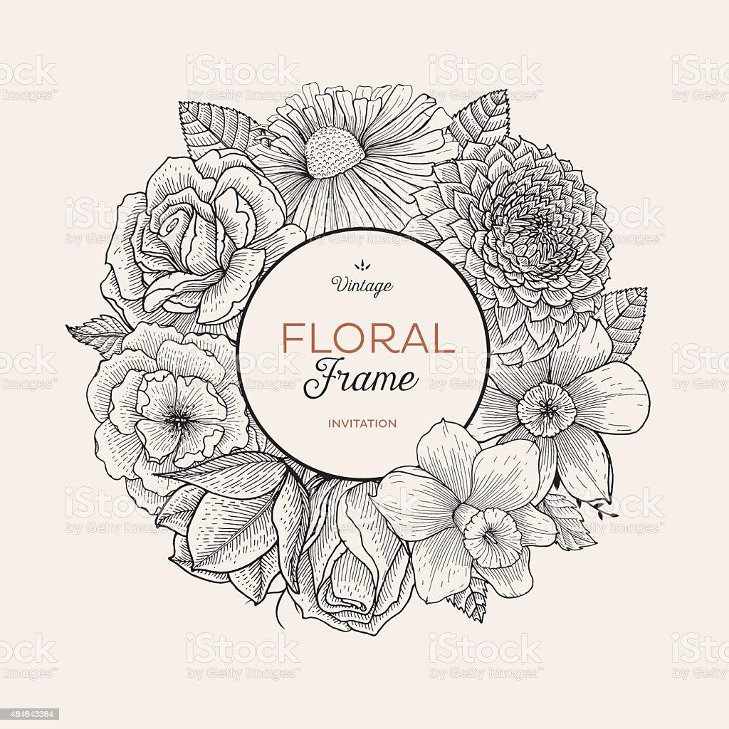 Bouquet label vector art illustration