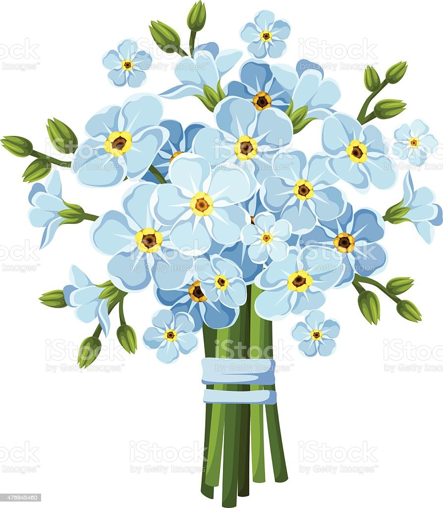 Bouquet of blue forget-me-not flowers. Vector illustration. vector art illustration