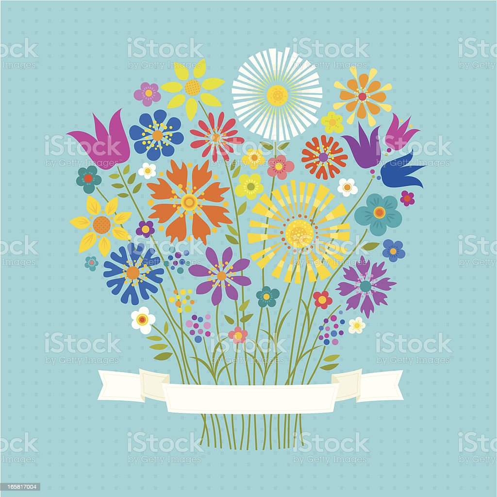 A bouquet of colorful flowers wrapped in a white bow royalty-free stock vector art