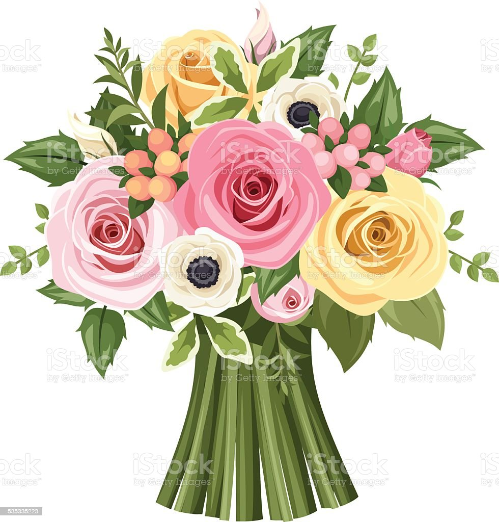 Bouquet of colorful roses and anemone flowers. Vector illustration. vector art illustration