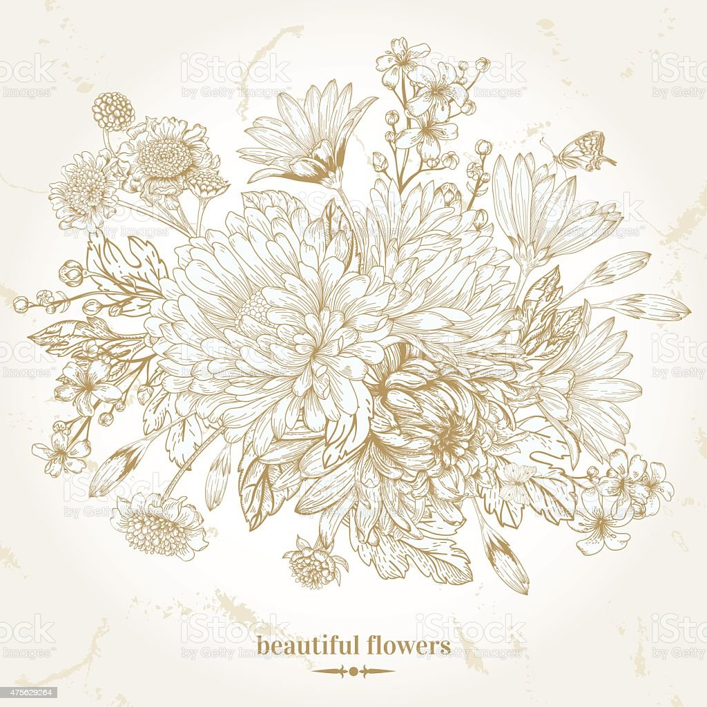 Bouquet of flowers. vector art illustration