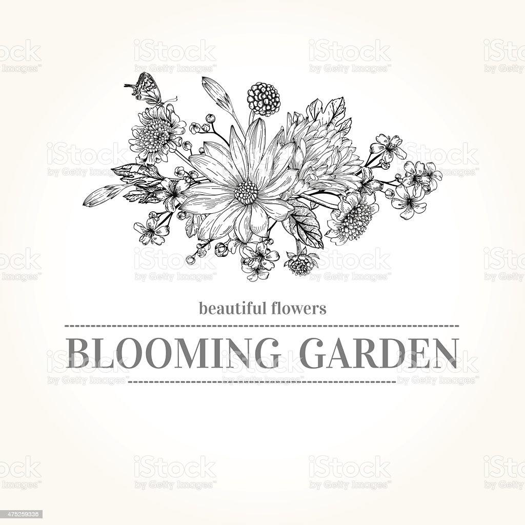 Bouquet of garden flowers. vector art illustration