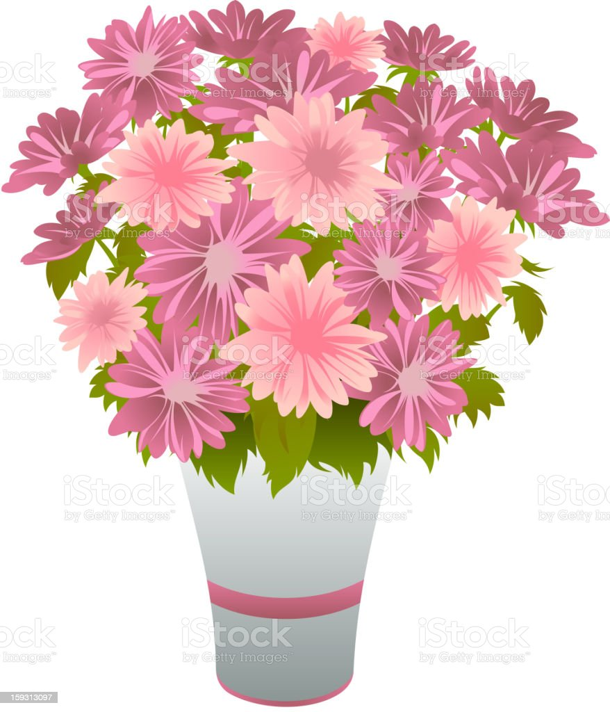 Bouquet of pink asters in blue vase royalty-free stock vector art
