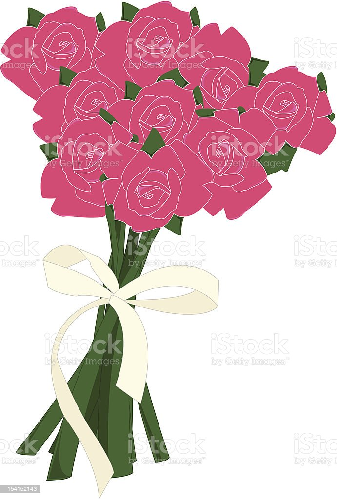 bouquet of pink roses vector art illustration