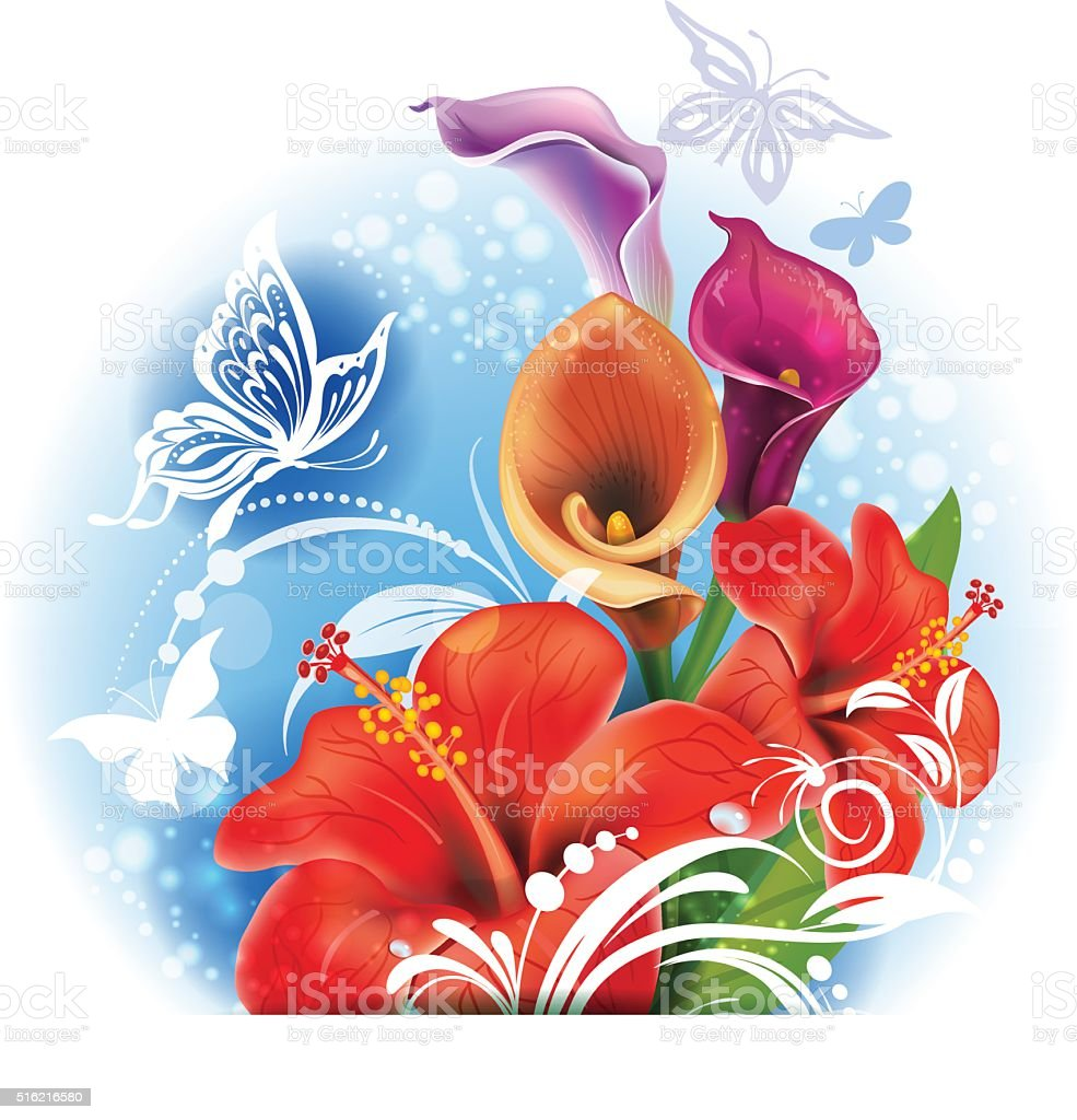 Bouquet of red Hibiscus and Calla flowers vector art illustration