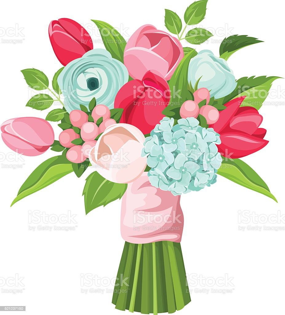 Bouquet of red, pink and blue flowers. Vector illustration. vector art illustration