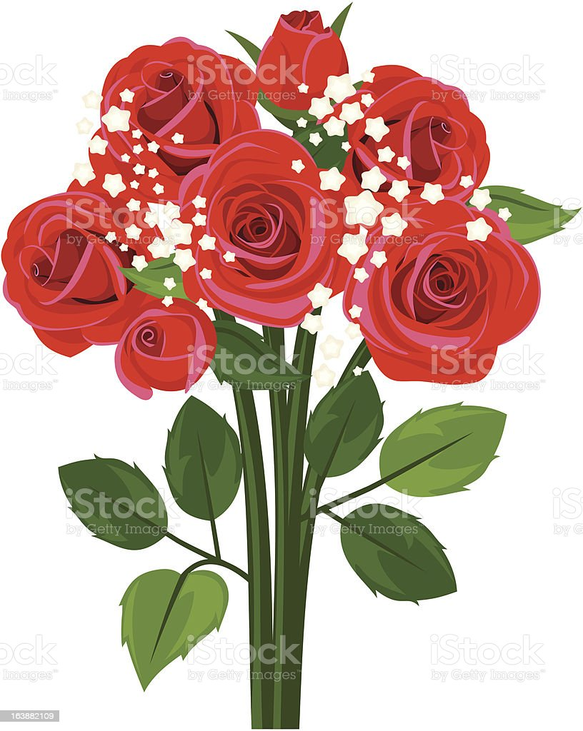 Bouquet of red roses. Vector illustration. vector art illustration
