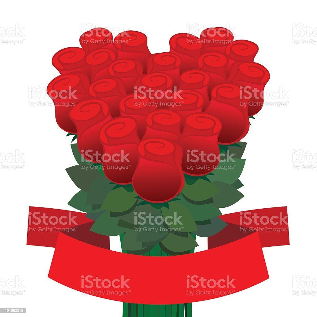 bouquet de roses en forme de cœur stock vecteur libres de droits