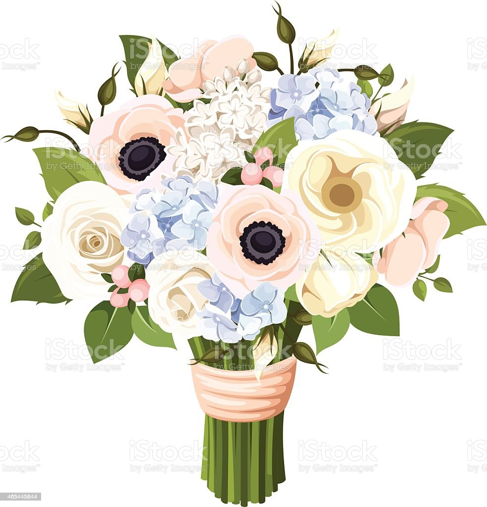 Bouquet of roses, lisianthus, anemones and hydrangea flowers. Vector illustration. vector art illustration