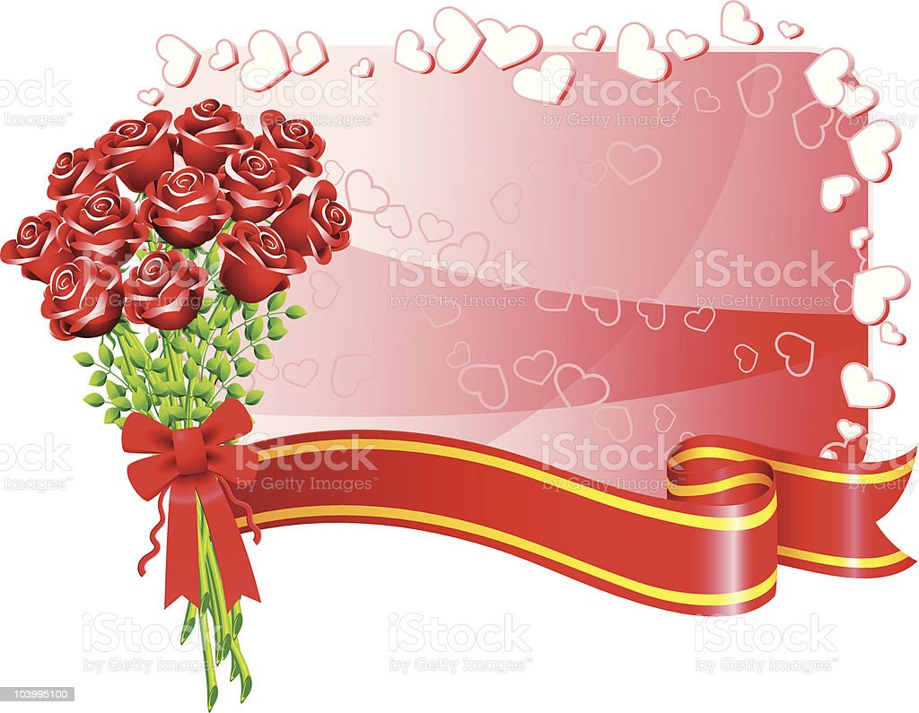 Bouquet of roses on Valentine's day gift card vector art illustration
