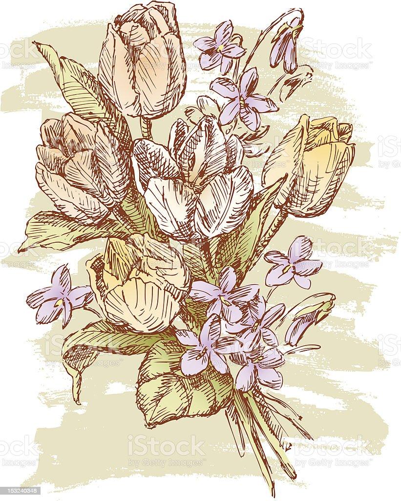 Bouquet of spring flowers vector art illustration