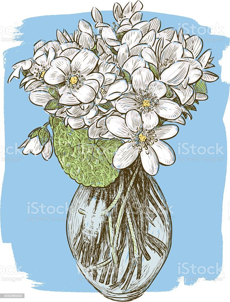bouquet of the spring violets vector art illustration