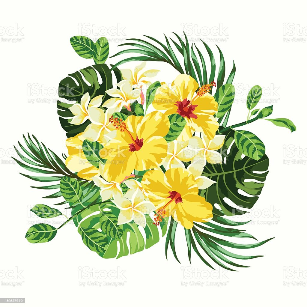 Bouquet of tropical flowers. vector art illustration