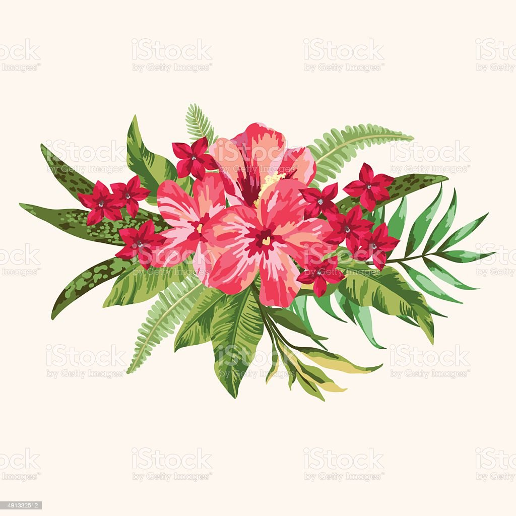 Bouquet of tropical flowers. vector art illustration