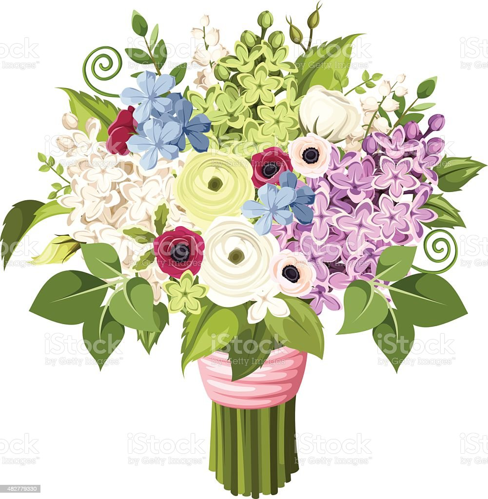 Bouquet of various flowers. Vector eps-10. vector art illustration
