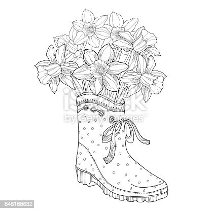 bouquet with narcissus or daffodil flower in the rubber boot isolated on white stock vector art 648168632 istock