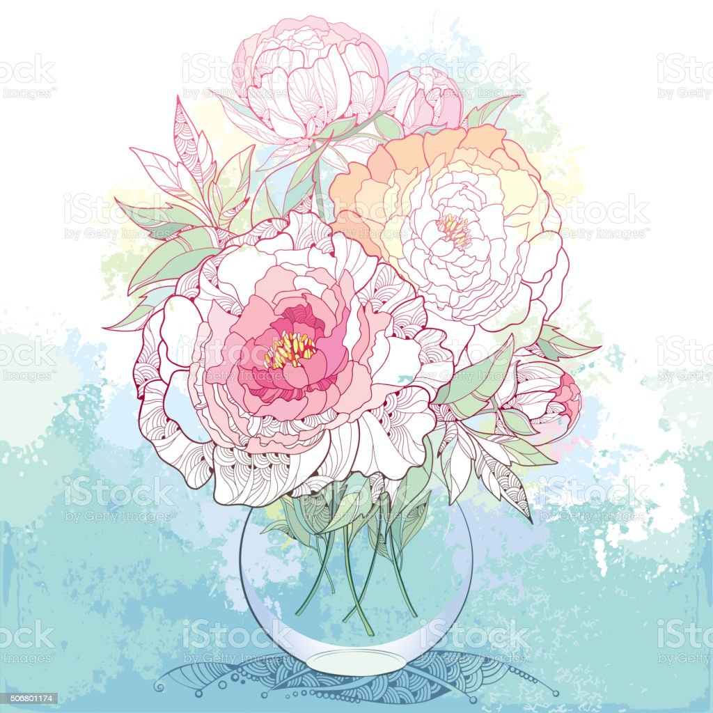 Bouquet with peonies and leaves in the round transparent vase. vector art illustration