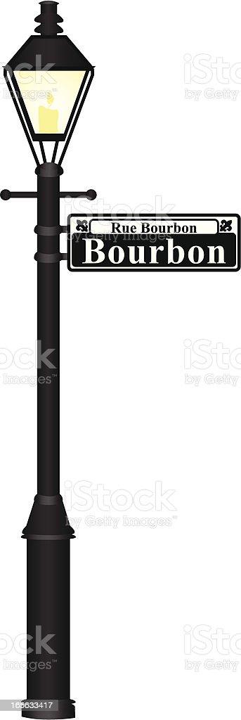 Bourbon Street Sign vector art illustration
