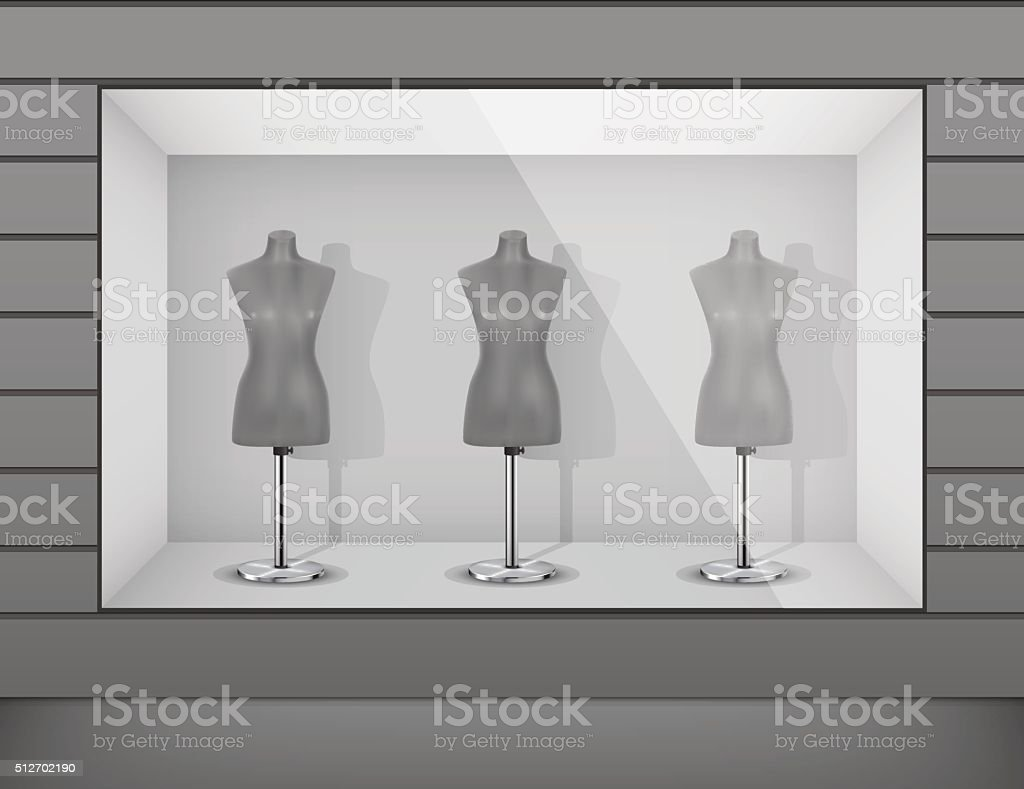 Boutique display window with mannequins vector art illustration