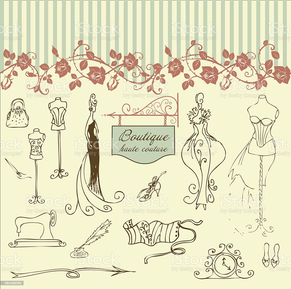 Boutique haute couture and  Dressmaking vector art illustration