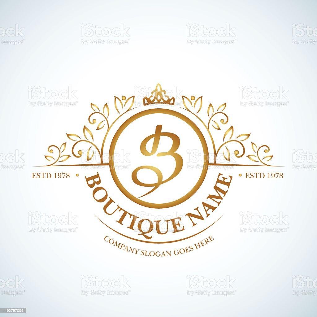 Boutique Luxury Vintage logo. vector art illustration
